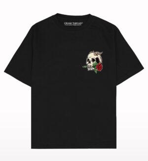 Skull and Rose Drop Shoulder Oversized T-shirt